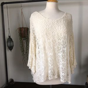 Free People Ivory Full Sleeve Lace Top